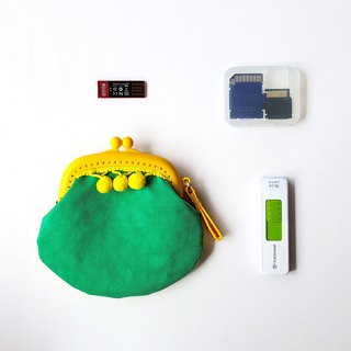 Green Lemon with Yellow Lemon/Green/Yellow Hair Ball Tassels Gold Coin Purse