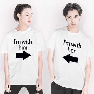 I'm with him(her) couple white t shirt