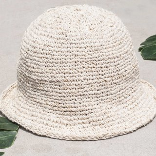 Chinese Valentine's Day gift limited handmade earth forest stitching hand-woven cotton hat / fisherman hat / sun visor / patch hat / handmade hat / hand crocheted hat / hand-woven-original summer boho cream white