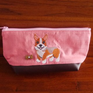 Corgi Custom Embroidery Pouch Storage Bag 10 Colors Free Embroidery Name Please Remarks