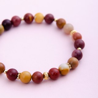 Mookaite Jasper 14K Gold-plated Natural Gemstone Crystal Bracelet