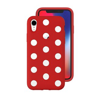Japan AndMesh-iPhone XR Dot Double Layer Anti-collision Cover - Red (4571384959407