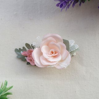 Elegant Light Pink Rose Fabric Flower Hair Clip,gift for her, hair accessories
