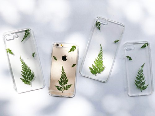 文青系 干花手机壳  Fern Leaf Pressed Flower Mobile Case