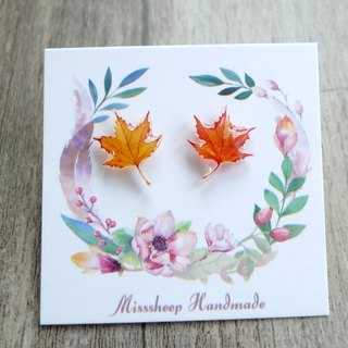 Misssheep-U07-Orange Red Maple Leaf - Watercolor Hand Painted Style Maple Leaf Earrings (Auricular / Ear Clip) (One Pair)