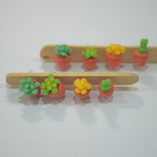 Succulents potted earrings group (ear acupuncture or clip-on)