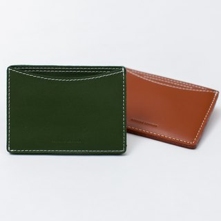 【ad-lib】Leather Card Holder - Green//Brown (CH291)