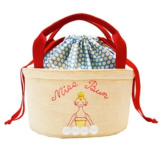 Miss Baotou (Red Strap) - Hand-painted hand-embroidered insulated lunch bag