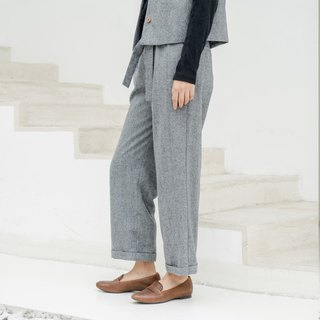 BUFU woolen pants with belt