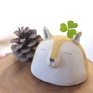 ceramic vase mini sculpture shiba inu dog