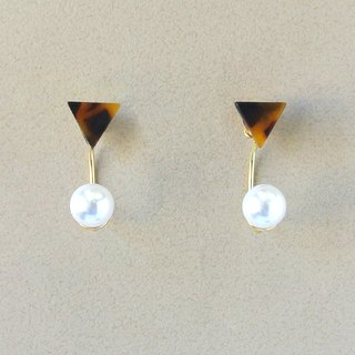 Marble Labs Impressionist Triangle Tortoiseshell Pearls / Mosaic Front and Back Two Wear 2 way Earrings / Ear Clip (EP002)