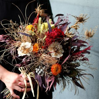 Hand tied bouquets [Multi-media series] Golden and red scattered dawn bouquets