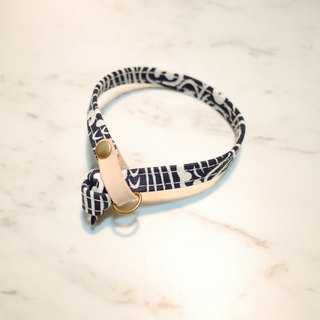 Cat collars, Deep Blue, Sea Wave with leather