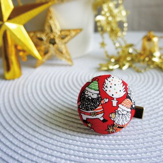 Lovely [Japanese cloth] Santa Claus with gift bag buckle hair clip, scarf scarf folder, black bottom