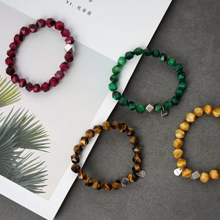 Octagonal tiger eye VISHI natural crystal stone s925 sterling silver wood bracelets beaded simple men and women