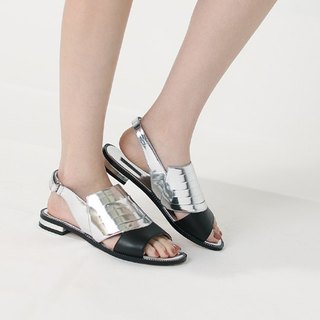 [Show products clear] shell structure devil sticking off flat open toe leather sandals silver black