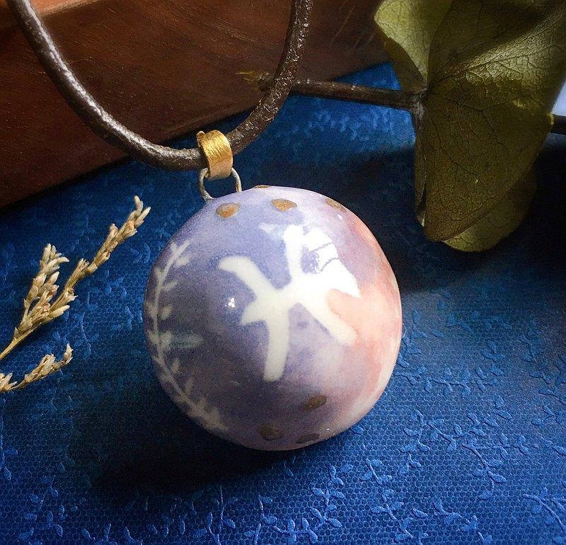 雙魚座 星座系列 鎏金香水精油項鍊 手作陶藝 擴香