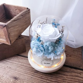 Blue and white immortalized flower night light / translucent white / birthday present / opening ceremony / wedding small things