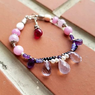 Girl Crystal World - Princess Jewelry Box [Pink Crystal Morgan Stone Half Double Chain] Natural Crystal Bracelet