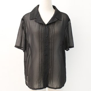 Retro Summer Short Sleeve Black Dot Loose Vintage Shirt Vintage Blouse