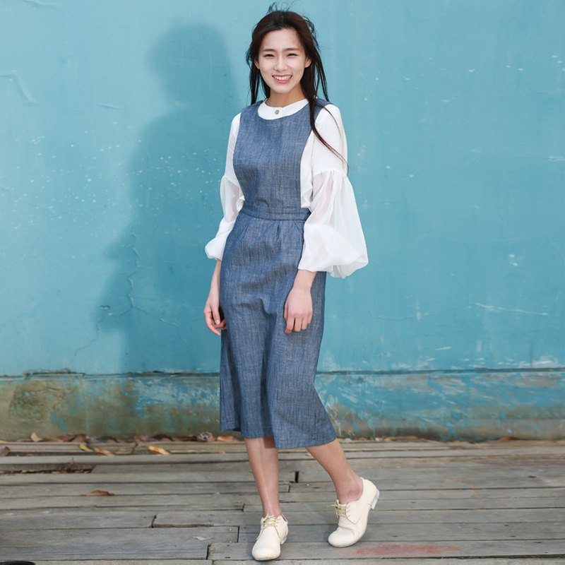 2016 spring and summer new removable denim vest sweet Slim College wind dress