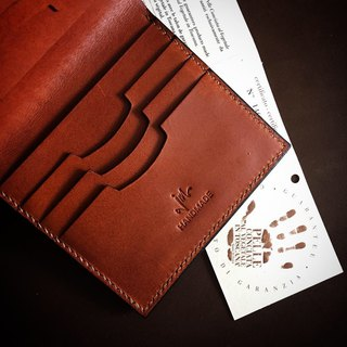 Italian vegetable tanned leather staff handmade wallet short clip (six cards)