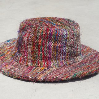 A limited edition hand-woven cotton saris line cap / knit cap / hat / straw hat / straw hat - Rainbow colored saris hand twisted wire