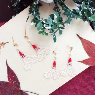 Winter series- Hand Drawn -little Santa - earrings