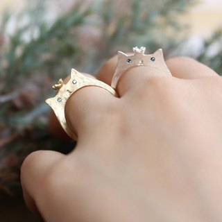 Japanese handmade jewelry - crown cat ring