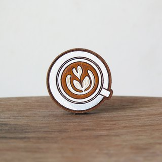 Wooden Brooch Coffee ~ Latte flat white