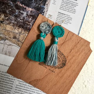 Handmade tassel earrings -crochet circles in 3 variations of blue lagoon