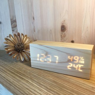 Cypress LED timepiece, wood clock