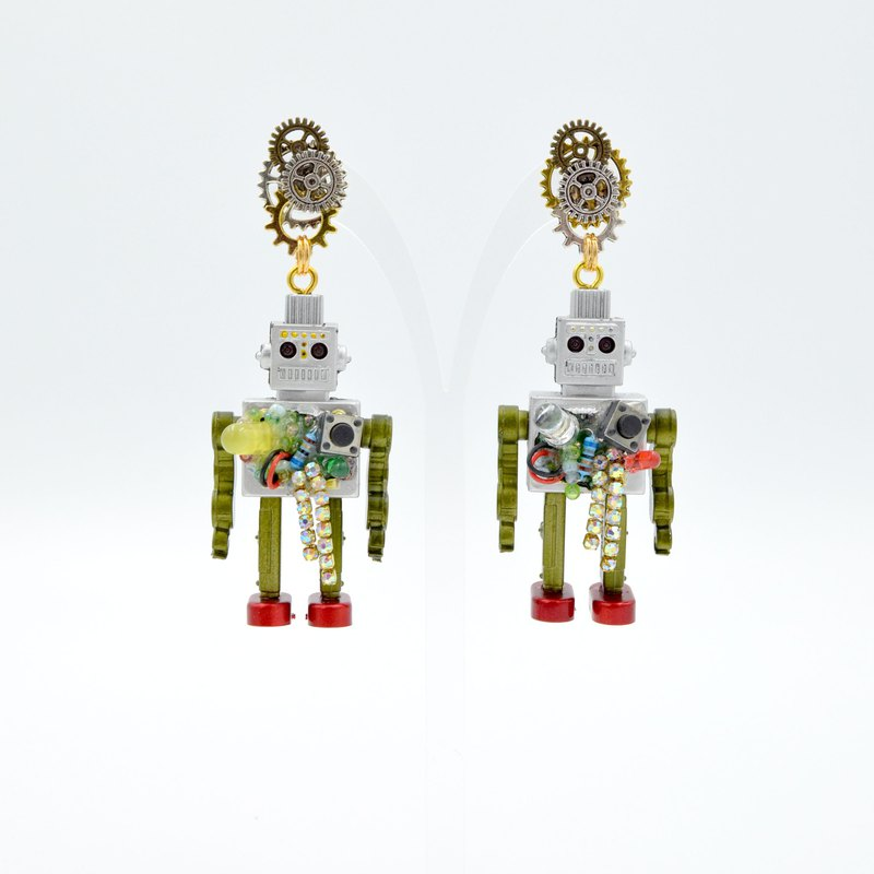 TIMBEE LO Handmade Explosive Robot Earrings Gear Earrings Nostalgic Robot on Sale