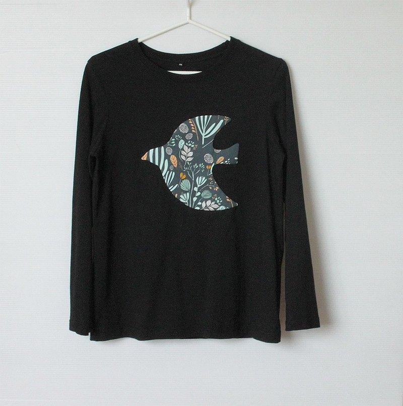飛鳥花園微寬鬆黑色長袖T-shirt No.1