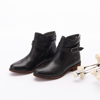 [Danish fashion] scorching benzene dyed sheepskin buckle with lace boots _ brush color fog black