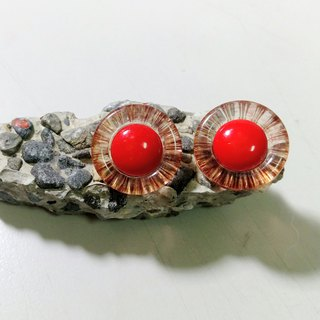 Vintage red earrings / pin / clip