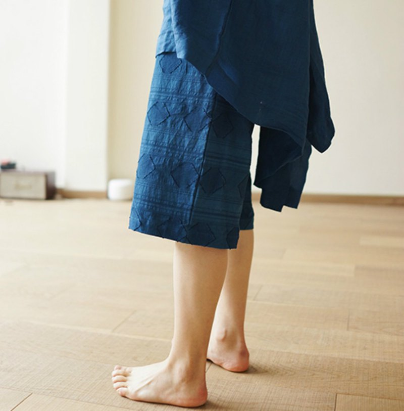 Textured elastic waist loose shorts plant blue dyed indigo green grass dyed summer neutral casual pants