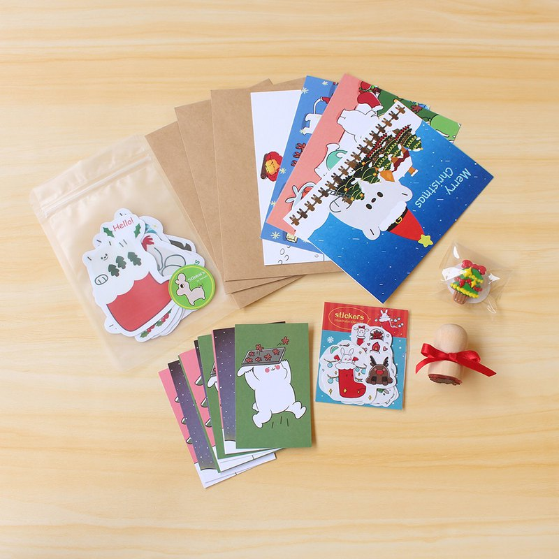Christmas package (postcard, small card, sticker, small seal, small badge)