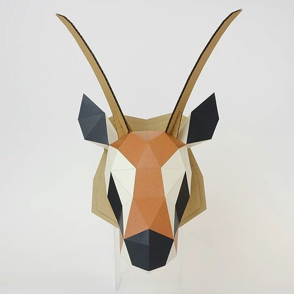 Bog craft three-dimensional animal paper art GAZELLE- Gazelle L large wall hanging (with bottom version) WALL