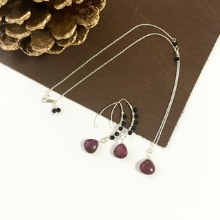Alunite and Onyxl Hook-earring, Necklace Set up SV925