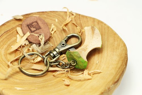 Wooden eating apple key ring (with small pottery card)--woodcut--handmade - hand made [can pick color]