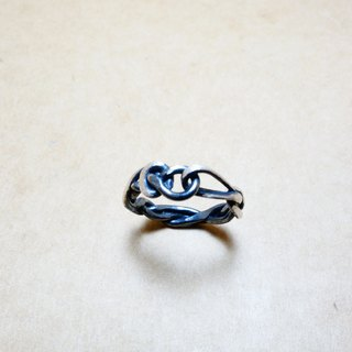 Sterling silver rope black and white tie tied ring shape