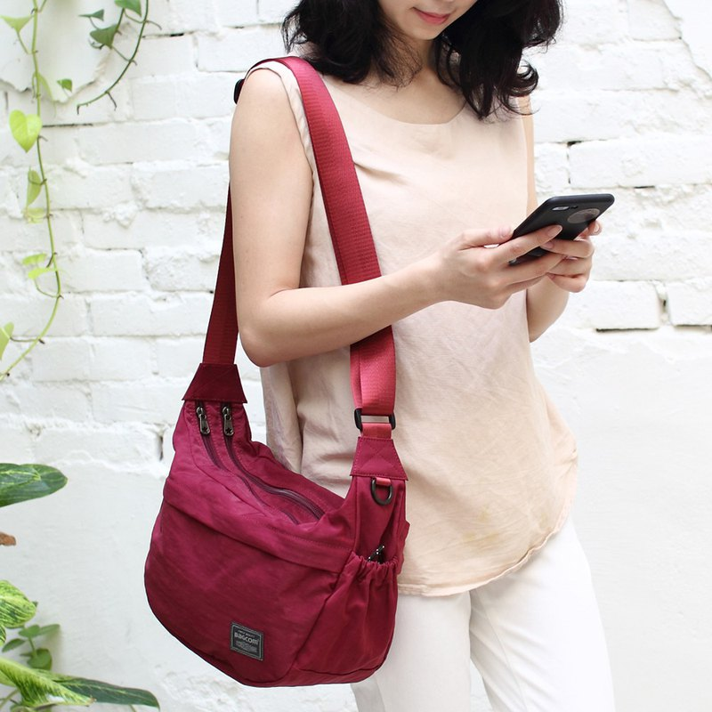 New product ~ soft double double shoulder bag (water resistant) - red _100423