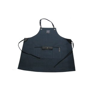 Hanging neck leather belt apron ink blue waxed canvas as Zuo zuo hand leather belt apron