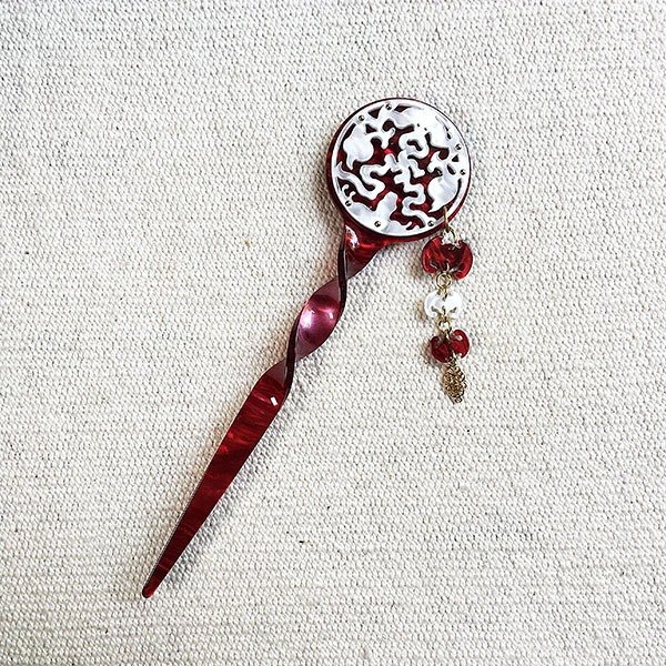 Guro blessing, hairpin, hair plug - red silver