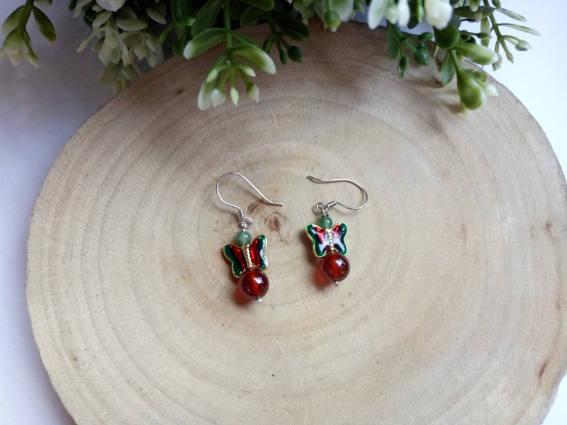 Natural Gemstone ~ Orange Pomegranate Sterling Silver Earrings