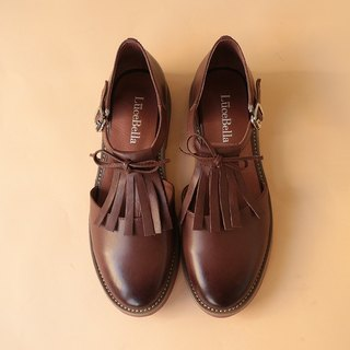 [Retro Belle] rubbed tassels hollow shoes _ café