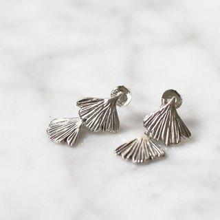 Petite Fille Female Unfinished Handmade Jewelry Wire Fern Two Piece Silver Earrings Ear Studs