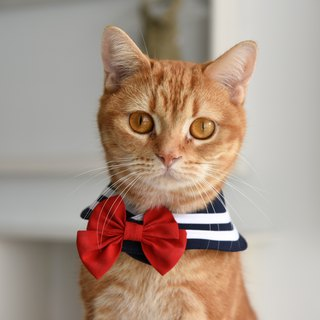 Sailor  Scarf for Cat, shows 3 styles at once, with two ties