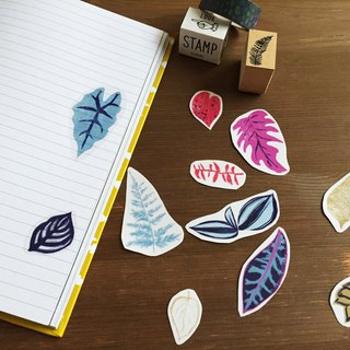 Tropical plant leaf transparent sticker pack